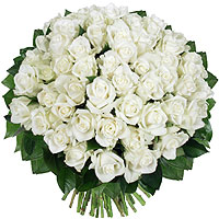 Le Bouquet 50 roses Blanches Platine XXL