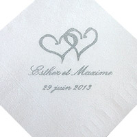 Lot de 100 Serviettes Cocktail personnalis�es Petit Format