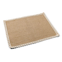 Set de Table Rectangle Jute et Dentelle